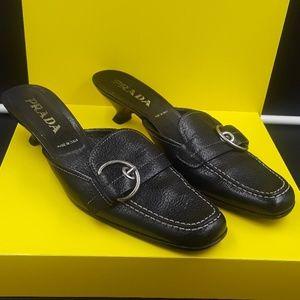 Authentic Prada black leathe slip on kitten heels